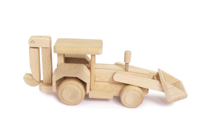 Koparka zabawka drewniana