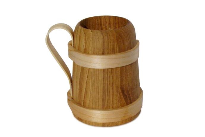 Kufel drewniany debowy maly
