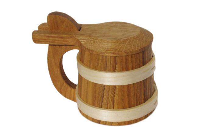 Kufel drewniany debowy sredni