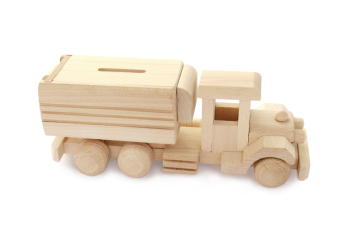 Skarbonka zabawka drewniana