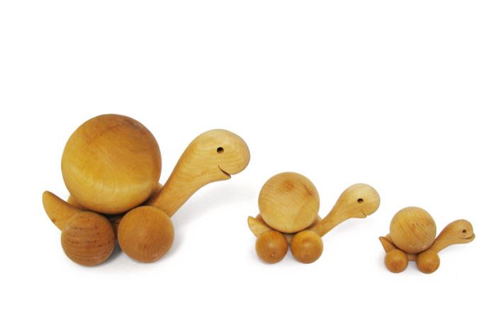 Zolwie zabawki drewniane