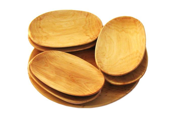 Tace drewniane z czeresni owalne kpl siedem