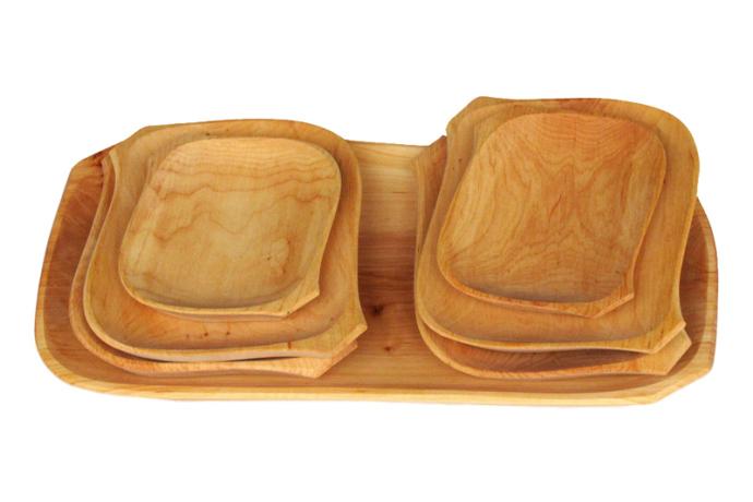 Tace drewniane z czeresni romby trzy kpl siedem