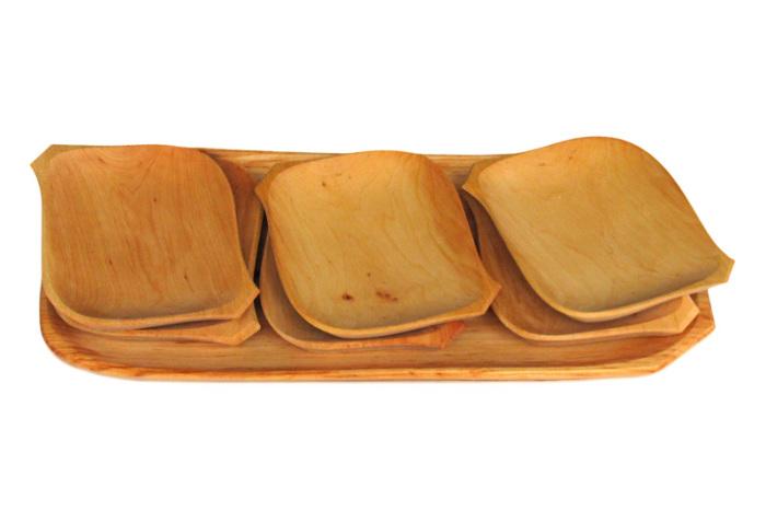 Tace drewniane z czeresni romby kpl siedem