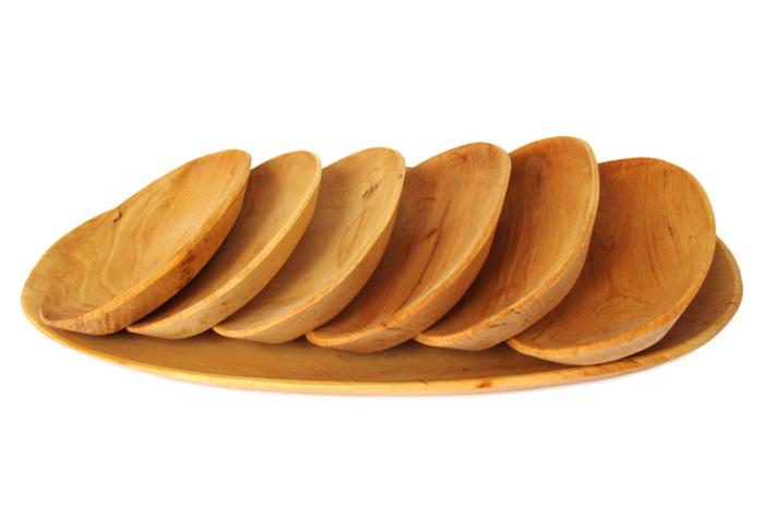 Tace drewniane z czeresni owalne kpl